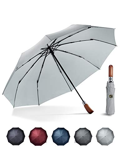 - Sunyouth Umbrella Windproof Automatic Compact Rain Travel Lightweight Golf Umbrella with Wood Handle for Car and Outdoor Use-10 Ribs Durable Construction-Easy Touch Auto Open Close (Gray)