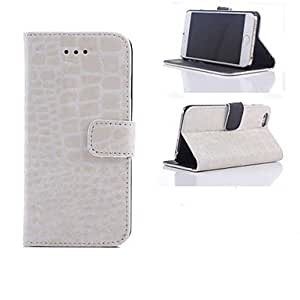 PG Crocodile Skin Design Leather Full Body Case with Magnetic Flap Closure Cover and Card Slot for iPhone 6 Plus(White)