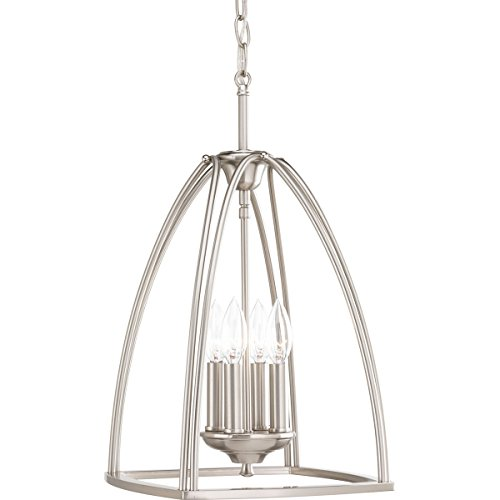 Progress Lighting P3786-09 Contemporary/Soft 4-60W Cand Foyer, Brushed Nickel