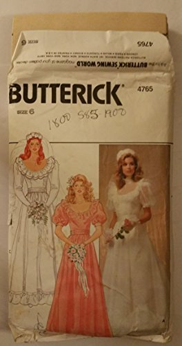 VINTAGE UNCUT & OOP BUTTERICK 4765 BRIDAL GOWN / WEDDING DRESS & CUMBERBUND SEWING PATTERN MISSES' SIZE: 16 (Dress Pattern Vintage Butterick Uncut)