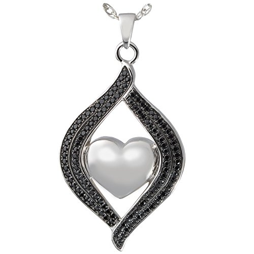 Memorial Gallery 3320bs Teardrop Ribbon Heart Midnight Stones Sterling Silver Cremation Pet Jewelry by Memorial Gallery