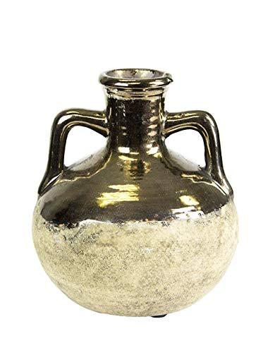 Lucky Winner Brass-Tone Terra Cotta Urn Vase, 5.5