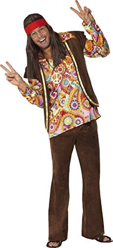 1960s Costumes (Smiffy's Men's Psychedelic 1960S Hippy Costume with Shirt Trousers and Waistcoat, Multi,)