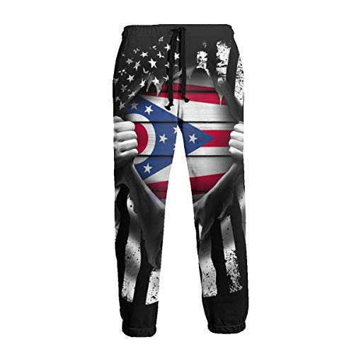 - Private Bath Customiz State of Ohio Flag Pull Apart Men Sweatpants Joggers Pants Sports Trousers with Drawstring Black