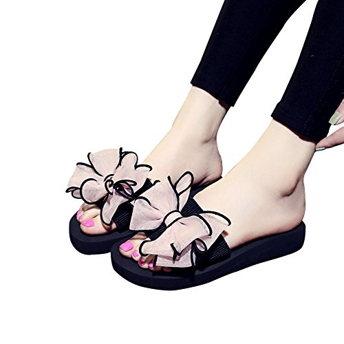 fereshte Womens Girls Bowknot Flower Slipper Platform Wedges Beach Sandals For Mother and Daughter 759-pink VwC5W