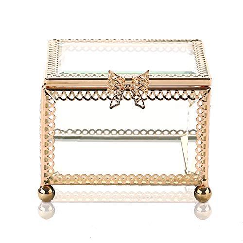 X-nego Handmade Art Golden Glass Jewelry Box Mirrored Keepsake Box Ornate Ring Earring Box for Girls Romantic Gift