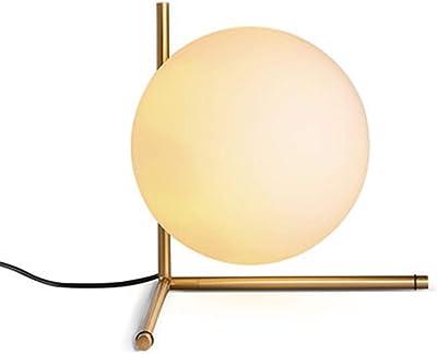 Nordic Glass Table Lamps Ball Iron E14 Desk Lamp Tripod Milky Round Light Gold for Living Room Bedroom Reading