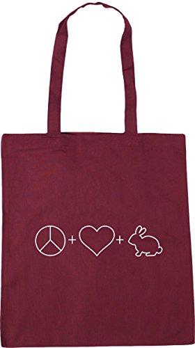 42cm 10 litres Bag x38cm Gym Love and HippoWarehouse Shopping Tote Peace Burgundy Rabbits Beach Sx1wCHzq