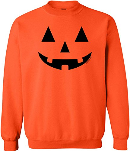 JACK O' LANTERN PUMPKIN Halloween Orange Crewneck Sweatshirt-L]()