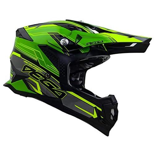 Matte Black, LARGE Vega Helmets Unisex-Child Kids Youth Dirt Bike Motocross Full Face Helmet for Off-Road ATV MX Enduro Quad Sport