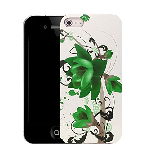 Mobile Case Mate IPhone 5S clip on Silicone Coque couverture case cover Pare-chocs + STYLET - green floral bloom pattern (SILICON)