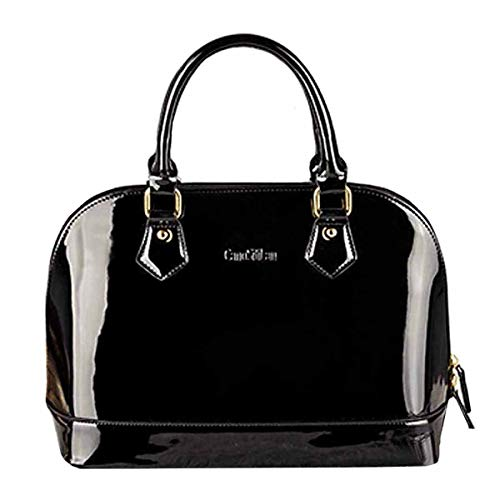 Heidi Bag Women's Patent Leather Dome Satchel Handbag Tote Chinese Bride Bag Black
