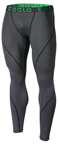 TM-MUP19-ZDG_Large Tesla Men's Compression Pants Baselayer Cool Dry Sports Tights Leggings MUP19