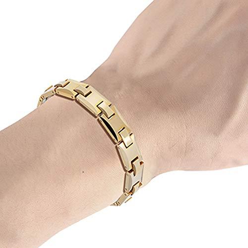 - CTRCHUJIAN Men tunqsten Metal Bracelet Gold Magnetic Casual Link Bracelets for Male Casual Hand Wrist Chain