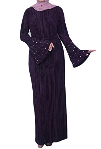 Coolred-femmes Tunique À Manches Cloche Perles Dubai Musulman Islamic Caftan Violet