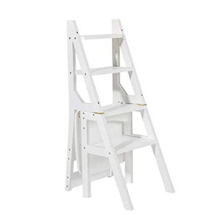 DY Taburete Escalera de Madera Blanca Silla Plegable ...