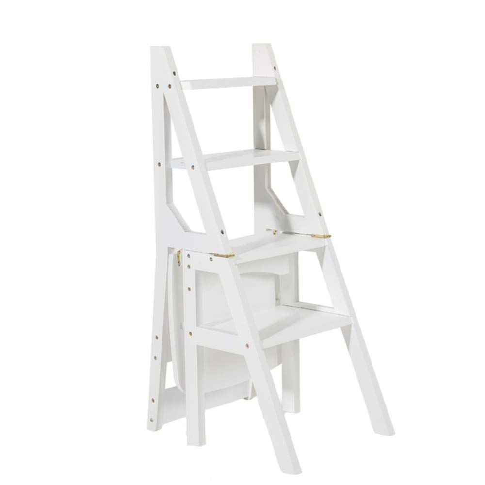 NYDZDM White Wooden Ladder Chair Foldable Multifunction Home Library Office 4 Steps Shelving Ladder Flower Stand