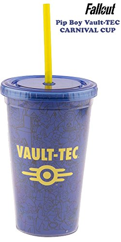 Fallout OFFICIAL Vault-Tec and Vault Boy Blue and Yellow PREMIUM Tumbler Travel Cup, 16oz (Vault Tec Boy Costume)