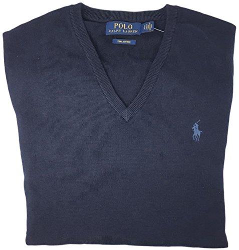 Polo Ralph Lauren Mens Pima Cotton V-Neck Sweater (Large, Navy Blue)
