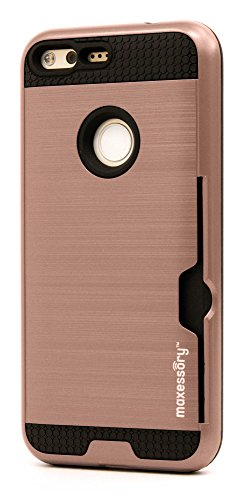 (Pixel XL (5.5 inch) Case, Maxessory Rose Gold Enhanced Thin Rigid Tough Reinforced Protective Armor Cover W/Reinforced Bumper Easy-Access Card Holder)