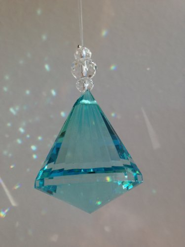 40mm Multifaceted Hanging Crystal Garlands Prism Glass Diamond Ornament Pendants (Teal)