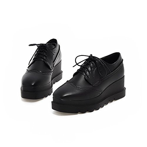 Amoonyfashion Mujeres Square-toe Kitten-toe Kitten-heels Bombas-zapatos Con Vendaje Y Esponja Soles Black