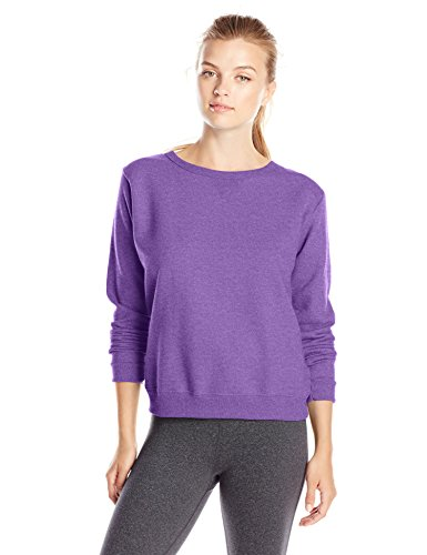 Hanes Women's V-Notch Pullover Fleece Sweatshirt, Violet Splendor Heather, X-Large