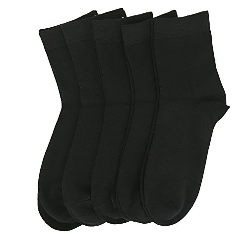 Bamboo women sock Low Quarter Crew sock Ankle High Odor Resistant Sock 5 Pairs (Black, Medium)