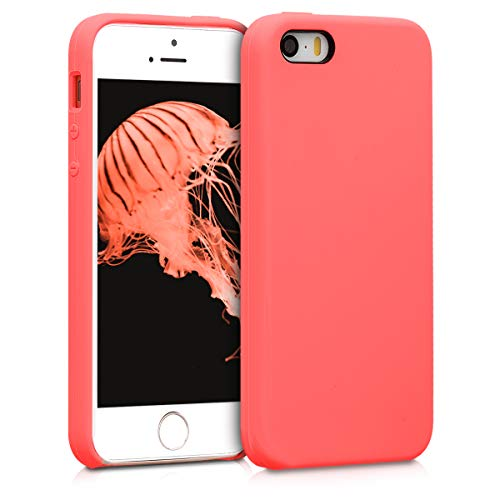 - kwmobile TPU Silicone Case for Apple iPhone SE / 5 / 5S - Soft Flexible Rubber Protective Cover - Living Coral