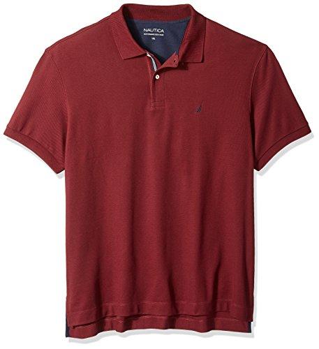 Nautica Men's Big Short Sleeve Solid Deck Polo Shirt, Royal Burgundy, 4XLT Tall