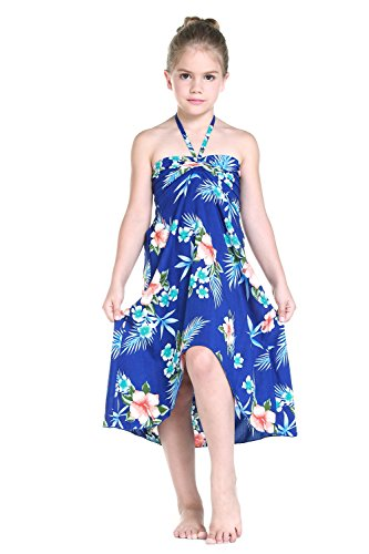 Girl Hawaiian Butterfly Dress in Hibiscus Blue Size 12 (Hawaiian Party Dress)