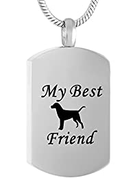 My Best Friends Dog Tag Cremation Urn Necklace Memorial Jewelry Lockets for Ashes