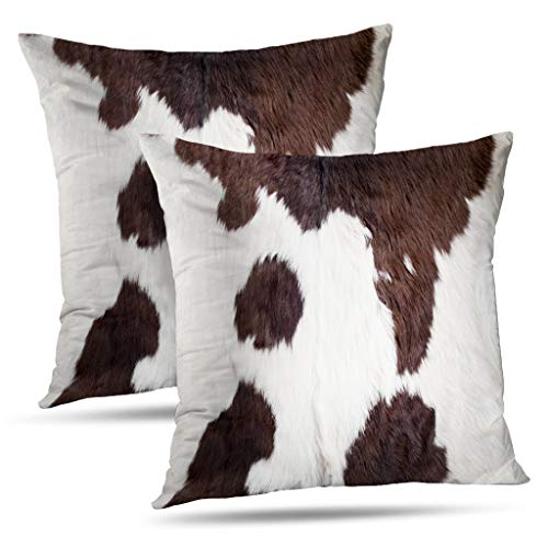 Set of 2 Decorativepillows Case Throw Pillow Covers for Couch/Bed 18 x 18 inch,Cow Skin Abstract Africa Animal Black Fabric Farm Fashion Home Sofa Cushion Cover Pillowcase - Animal Skin Black