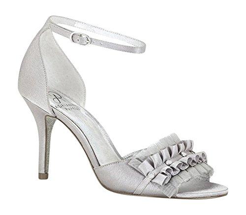 Adrianna Papell Women's Alcott Pump Sandal, Silver Satin, Size 8 B(M)