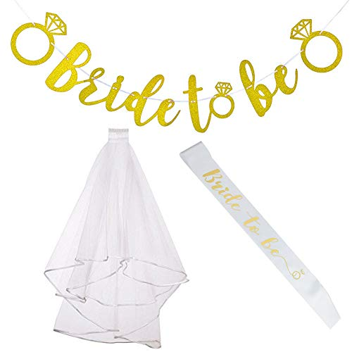 Bachelorette Party Decorations Kit – Bride to Be Sash, Bridal Wedding Veil with Comb, Bride to Be Gold Glitter Banner for Bridal Shower
