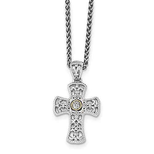 ICE CARATS 925 Sterling Silver 14k Diamond Cross Religious Chain Necklace by ICE CARATS