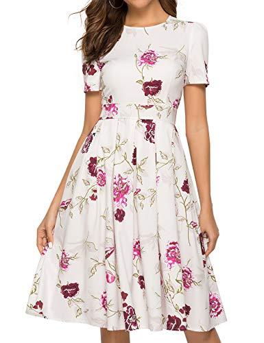 Simple Flavor Women's Floral Summer Midi Dress Vintage Evening Dress Short Sleeve(0001Beige,L)