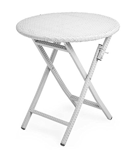 Plow & Hearth 39014-WH Tangier Wicker Outdoor Folding Bistro Table, White For Sale