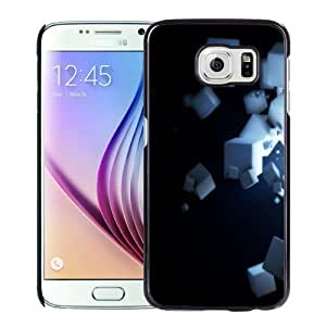 NEW Unique Custom Designed Samsung Galaxy S6 Phone Case With White 3D Cubes_Black Phone Case