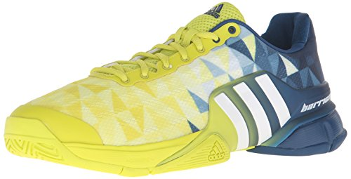 adidas Performance Men's Barricade 2016 Tennis Shoe Shock Slime White/Tech Steel Fabric 9 M US