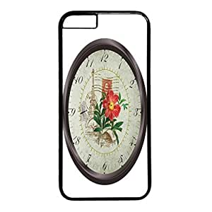 Time Design PC Black Case for Iphone 6 Bird and Flowers