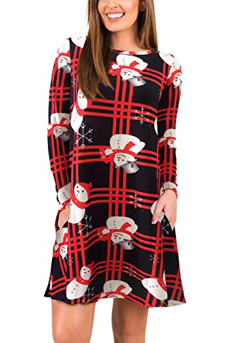 Snowman Mini Dress - BOOSOULY Womens Plaid Print Scoop Neck