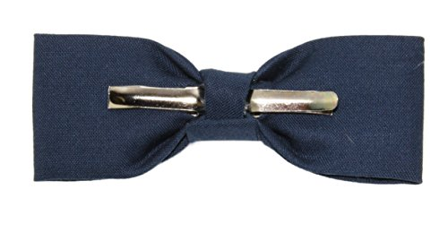 Boys Skinny Slim Navy Blue Clip On Cotton Bow Tie - Made In the USA by amy2004marie (Image #3)