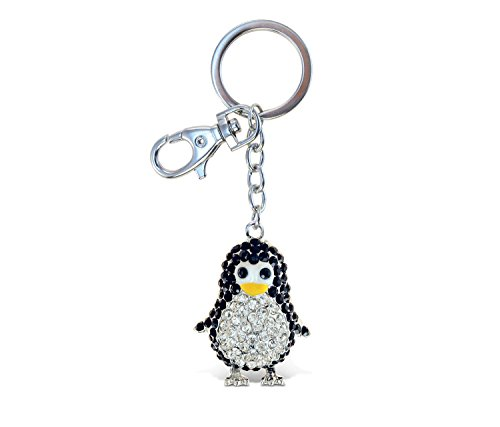 (Puzzled Elegant Metal Ring Sparkling Penguin Charms Keychain Rust Resistant Zinc Alloy & Crystals Keyring Unique Backpack Handbag Purse Mobile Bling-bling Decoration Gadgets Accessories 4 Inch)