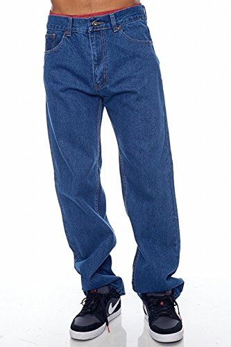 Blue Bay Industries Mens Jeans Relaxed Fit Straight Leg 5 Pockets Zipper Fly 100% Cotton 14oz Denim Jeans