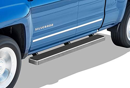 APS iBoard Running Boards (Nerf Bars | Side Steps | Step Bars) for 2007-2018 Chevy Silverado GMC Sierra Double Cab/Extended Cab & 2019 2500 HD / 3500 HD | (Silver 5 inches)