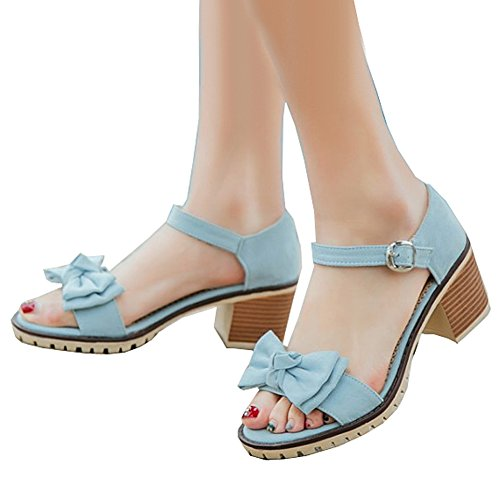 getmorebeauty Women's Blue Weave Bows Ankle Straps Dress Platform Block Sandals 9 B(M) US