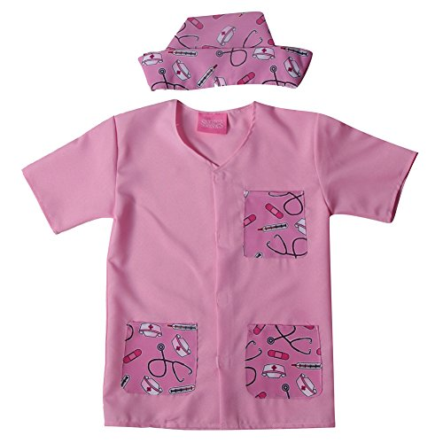 Storybook Wishes Girls Pink Doctor Pretend Play Smock & Hat Costume Size ()