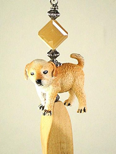 Cutest Labrador Golden Retriever Puppy Dog with Faceted Glass and Blonde Wood Ceiling Fan Pull Chain (Ornament Retriever Glass)
