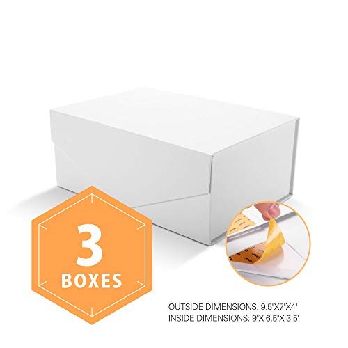 PACKHOME Gift Boxes Rectangular 9.5x7x4 Inches, Bridesmaid Boxes Rectangle Collapsible Boxes with Magnetic Lid for Gift Packaging (Matte White with Embossing, 3 Boxes)